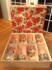 Lot Of 8 VINTAGE CHRISTMAS TUMBLERS DRINKING GLASSES HOLLY CANDLES 10 OZ NEW BOX