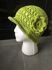 Women's 1930's Downton Abbey Inspired Cloche, Sun Hat, 100% Cotton, Lime Green