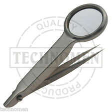 MAGNIFYING TWEEZERS FORCEPS MAGNIFIER GLASS SPLINTER EYEBROW HAIR BEADING AIRFIX