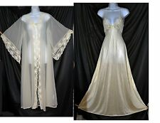 VTG Miss Elaine Gold Label Ivory Chiffon Lace Negligee Nightgown Peignoir set