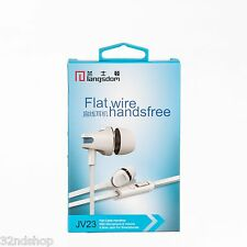 JV23 Flat wire Earphones In-Ear Portable Headphones Inline Volume - White