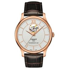 New Tissot Tradition Powermatic Open Heart Rose Tone Men's Watch T0639073603800