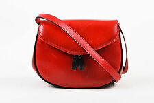 VINTAGE Salvatore Ferragamo Red Black Leather Small Tasseled Crossbody Flap Bag