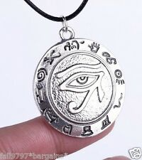 Egyptian Eye of RA , Udjat Amulet Talisman Pendant Black Cord Necklace