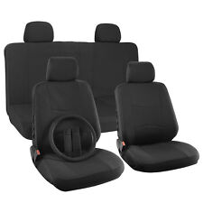 Car Seat Cover for Ford Mustang Solid Black w/Steering Wheel/Belt Pads/Head Rest