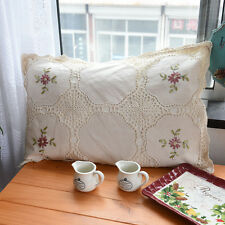 Beautiful Hand Silk Ribbon Embroidery Crochet Patch Beige Cotton Pillowcase