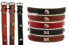 Dog puppy Collar New PU leather Small Medium Large Pet Bone/Paw Studded
