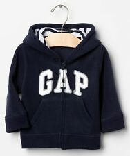GAP Baby / Toddler Boy Size 6-12 Months Blue Arch Logo Fleece Hoodie Jacket