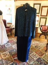 GORGEOUS MOTHER OF THE BRIDE OR GROOM 2-PIECE VELOUR SKIRT JERSEY TOP GOWN SZ 16