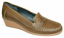 Shuropody UK 7 Olive Green Leather Wedge Heel Foot Health Moccasin Loafers Shoes