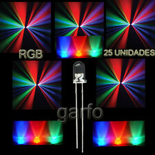 25X Diodo LED RGB 4,8x5 mm. Cambio  automatico de color 2 Pin alta luminosidad.