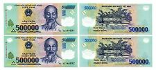 VietNam 1 Million dong Currency 2 x 500,000 500000 dong UNC condition USA Seller