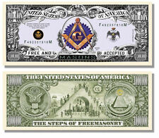 LOT of 6 Masonic ONE MILLION DOLLARS Bill w/ Steps of Freemason ( lapel pin hat