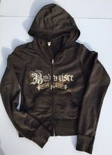 BUDWEISER BEER HOODIE CROPPED HOODED SWEATSHIRT ZIP JACKET KAVIO! JUNIORS MEDIUM