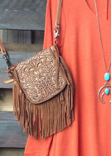 Women's Western Crossbody Bag Leather Tooled Purse Fringe Boho Cowgirl Gypsy