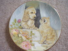 Royal Worcester England Porcelain cat-dog plate, Come out to Play