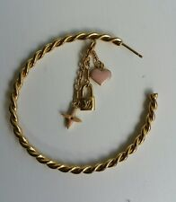$690 Louis Vuitton Earrings Monogram Creole Gold Twisted Heart Costume Jewelry