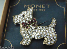 MONET Pave Crystal Rhinestone SCOTTY DOG BROOCH Scottish Terrier Red Bow Pin NIB