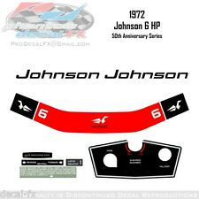 1972 Johnson 6HP Decal 50th Anniversary Outboard Reproduction 8Pc Vinyl Kit Six