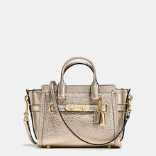 NWOT $250 Coach Swagger 15 in Pebble Leather 54625 LIGHT GOLD / PLATINUM