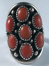 Nice!! Native American Sterling Silver & Coral Ring Size 7.75
