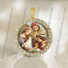 Guardian Angels of Children Religious Catholic Gold Tone Medal Pendant / Charm