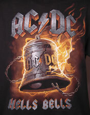 AC DC Hells Bells-Black T Shirt-L-100% Cotton-Classic Rock & Roll Band Music
