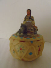 1999 Native American Girl Indian Resin Trinket Pot/Jewelry Box