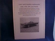 1967 AMC Rambler Ambassador/Marlin cost/dealer sticker prices for car/options $$