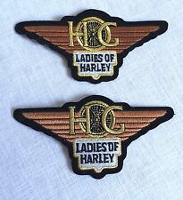 2 Ladies of Harley Davidson Embroidered Motorcycle Patches 4 3/5 In. Hog
