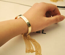 Golden Glossy Dangle Tassels Chain Tribal Lady Adjustable Cuff Bangle Bracelet
