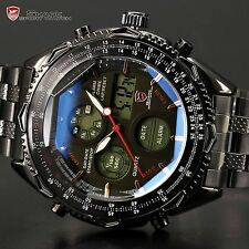 Shark Luxury Mens Sport Date LCD Digital Stainless Steel Army Quartz Wrist Watch