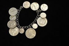 OLD ANTIQUE SILVER COIN BRACELET FIJI, PHILIPPINES CROWN PENCE SHILLING 108.6 g