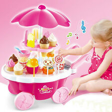 39 pcs Electronic Pink Ice Cream & Sweets Cart Kids Pretend Role Play Childs Toy