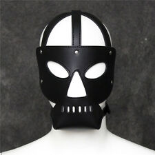 Black Bondage Leather Fetish Face Mask Alien Straps Head Cosplay Role Play Game