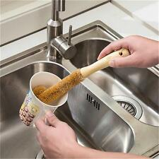 Useful Wood Handle Scrubbing Brush Coconut Fibre Home Washing Cup Bottle Tool FW