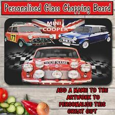 PERSONALISED MINI COOPER VINTAGE CAR GLASS CHOPPING BOARD HOUSE WARMING GIFT