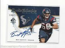 2008 SP ROOKIE AUTHENTICS BEN MOFFITT RC ON CARD AUTO #d 1109/1199 TEXANS