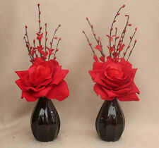ARTIFICIAL (SET OF 2) VELVET RED ROSES IN 2 COFFE PUMPKIN CERAMIC VASES