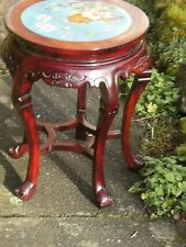 ANTIQUE CHINESE CLOISONNE & HARDWOOD TABLE OR POT STAND