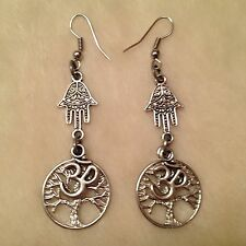 Silver Ohm Tree of Life Hamsa Hand Charm Earrings
