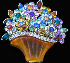 MULTI RHINESTONE HAPPY MOTHERS DAY EASTER FLOWER BASKET BOUQUET PIN BROOCH 1 3/4