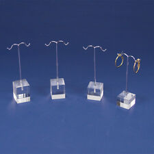 LOT OF 4 CLEAR ACRYLIC EARRING DISPLAYS SET 4-Pc EARRING TREE SET EARRING STANDS