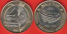 "Argentina 2 pesos 2012 ""South Atlantic War, Malvinas"" BiMetallic UNC"