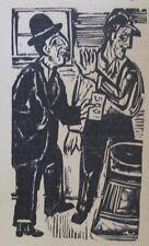 E. L. Kirchner O. Kleinkern und der Fremde - Niedergang  Original Holzschnitt