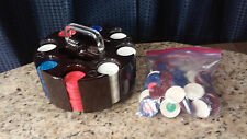 POKER CHIPS WITH PLASTIC SWIVEL CASE WITH 2 CARD HOLDERS