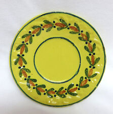 "Old Quimper Pottery France Soleil Yellow Saucer / Plate ~ 6"" ~ Floral"