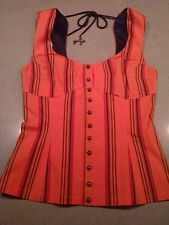 L.A.M.B GWEN STEFANI Orange Striped Button Up Tie Back Blouse Top Size 6