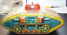 Antique Tin Litho WW1  Army Tank Bank