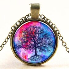 Vintage Tree of Life Cabochon Bronze Glass Chain Pendant Necklace gt15